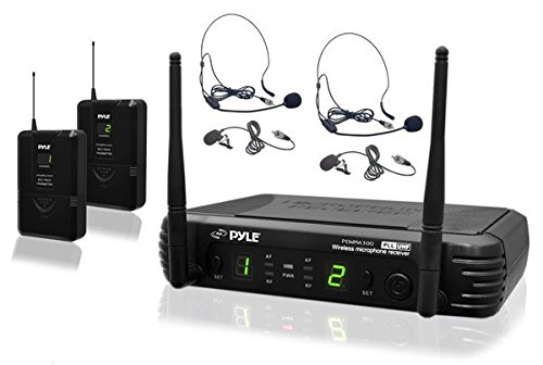 Wireless Lapel Uhf Channel Microphone (8 Channel Wireless Microphone System - Portable UHF Digital Audio Mic Set with 2 Headset, 2 Lavalier lapel, 2 Transmitter, ¼'' cable, power adapter - For Karaoke, PA, DJ, Pyle Pro PDWM3400)