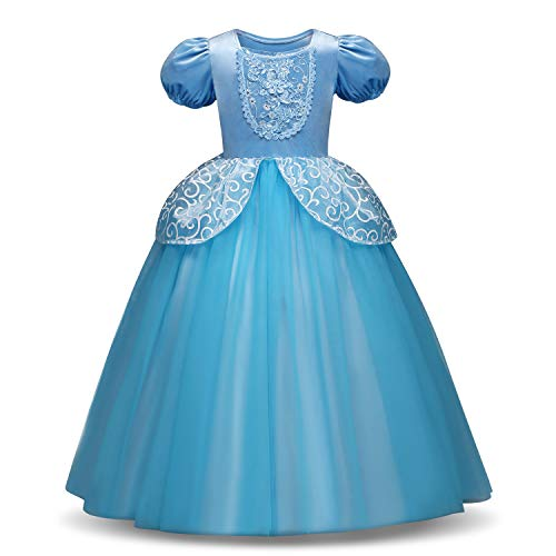 TiiMi Party Princess Cinderella Costumes Princess Dress up Kids Party Cosplay Costume Queen Dresses for Little Girls 2-12T (Age 5-6 Years 120cm) for $<!--$26.99-->