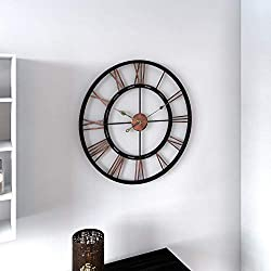 Aged Copper and Black Wall Clock Modern Contemporary Round Metal Minute Hand Roman Numeral Display