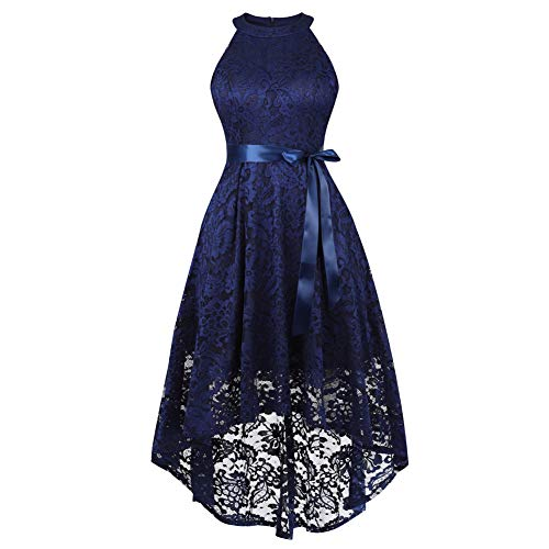 Women's Sleeveless Slim Halter Lace Dress Bridesmaid Party Cocktail Formal Dress, Navy Blue, XL (Cocktail Navy Blue)