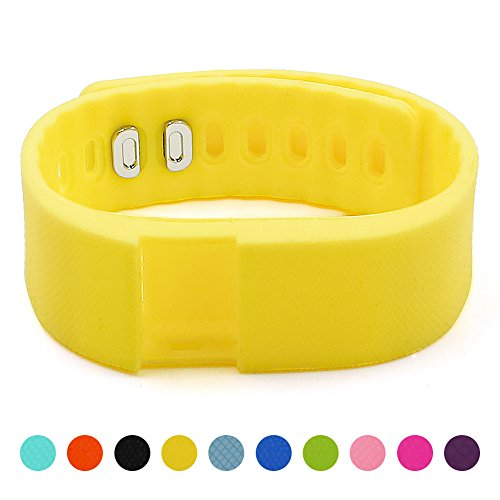 Soft Silicone Band for Teslasz Fitness Tracker in 10 Colors for Option,Yellow