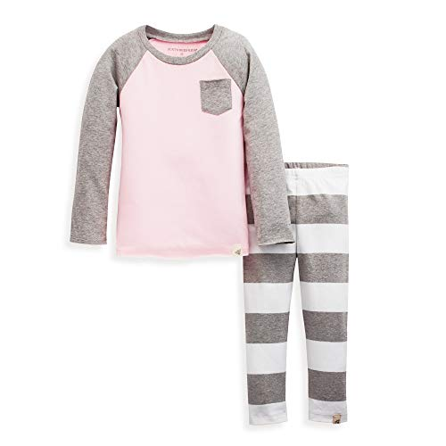 (Burt's Bees Baby Baby Girls' Toddler Top and Pant Set, Tunic and Leggings Bundle, 100% Organic Cotton, Pink Grey Rugby Stripe,)