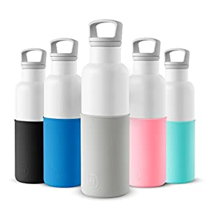 HYDY Vacuum Insulated Thermal Water Bottle 20 oz - BPA Free Stainless Steel - Eco Friendly - Ideal for Exercise, the Office and Travel - Modern Stylish Urban Design (WHITE-CLOUDY GREY)