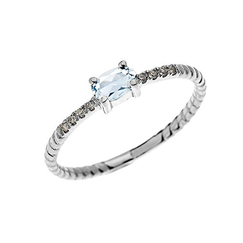 Dainty 14k White Gold Diamond and Solitaire Oval Aquamarine Rope Design Stackable/Proposal Ring(Size 12)