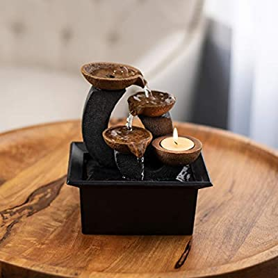 Pure Garden 50-LG5067 Tabletop Water Fountain-3 Tier, 7-Inch Indoor Waterfall, Candle Holder, Electric Pump and Soothing Sounds for Office and Home Décor