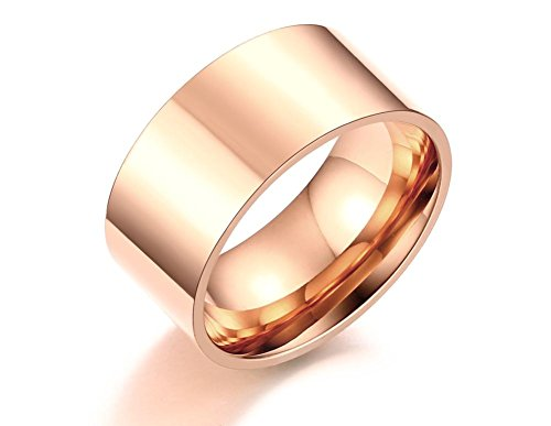 10mm Wide Stainless Steel Polished Plain Flat Simple Wedding Rings Bands for Men Women,Rose Gold, size 9