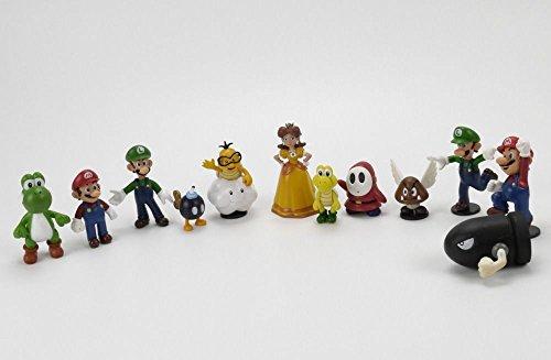 SHALLEN Lot 12 Super Mario Bros Mini Figures Figurine Toy Doll Set