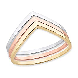 Polished 14k Rose Gold Chevron Stackable Band V Shape Curved Ring for Women (Sizes 4-12)