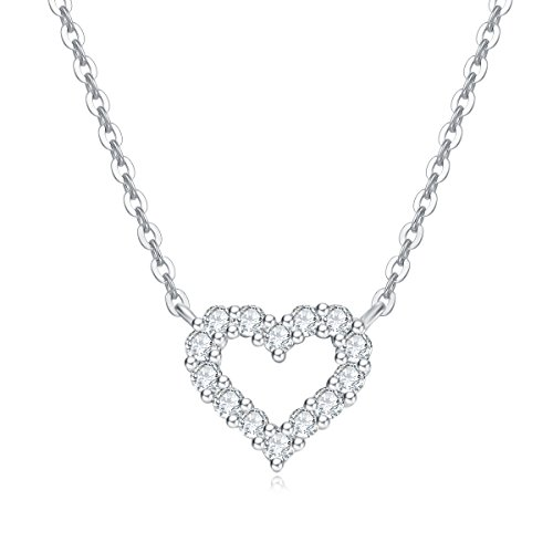 Carleen Solid 18K White Gold Round 0.15cttw Diamond Love Open Heart Pendant Necklace for Women Girls, 18