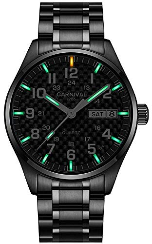 (Swiss Watch Men's Tritium Green Light Sapphire Glass Stainless Steel Quartz Luminous Pilot Military Watch (Green Light-All Black-White Markers))