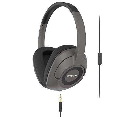 Koss UR42ik Over-Ear Headphones | Detachable Cord | Built-In Splitter | Includes Cord with In-Line Microphone & Remote | Dark Grey & Black