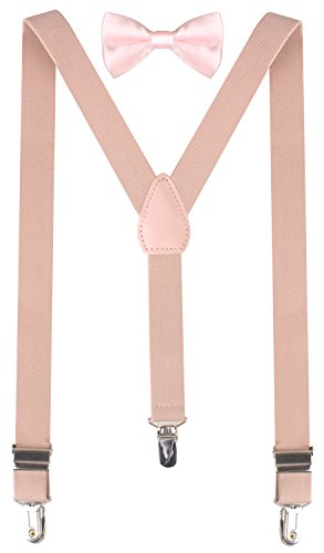 BODY STRENTH Boys Pink Bow Tie Toddler Bow Tie Suspenders for Kids 26 Inches (3yrs - 9yrs) Nude Pink (Toddler Suspender And Bowtie)