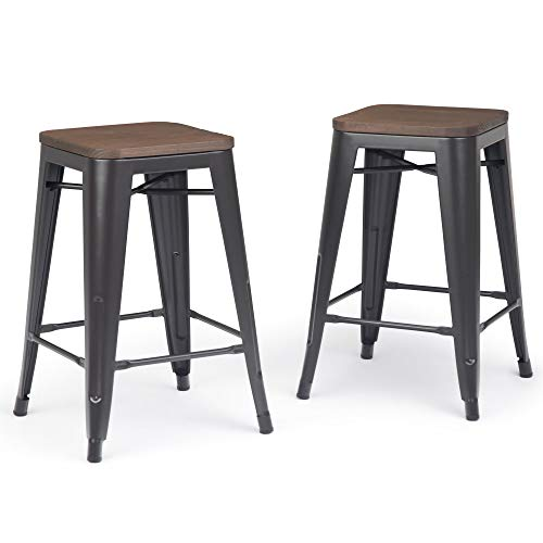 Simpli Home AXCEVE-24 Everett Industrial Metal 24 inch Counter Stool with Wood (Set of 2) in Cocoa Brown