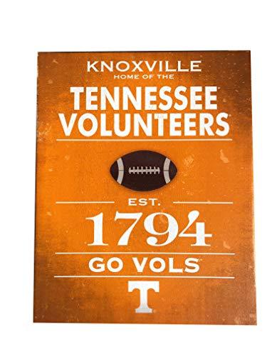 Artissimo Designs Vintage Sports Established Canvas Artwork Hanging Wall Sign (Tennessee Volunteers)