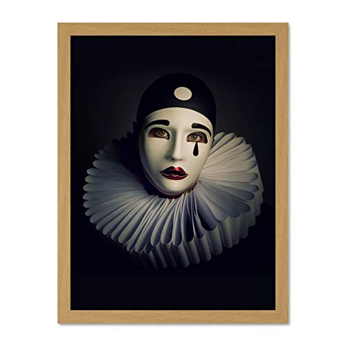 Doppelganger33 LTD Photo Portrait Study Performer Pierrot Mask Costume Art Large Framed Art Print Poster Wall Decor 18x24 inch Supplied Ready to Hang -