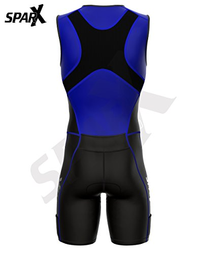Sparx X Triathlon Suit Racing Tri Cycling Skin Suit Bike Swim Run (Blue, Large) by Sparx Sports (Image #5)