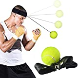 KOBWA Boxing Reflex Punching Fight Ball, Premium Boxing Training Equipment Kit - Boxing Headband with Boxing Tennis Ball for All Ages - Improving Speed Reactions Hand Eye Coordination