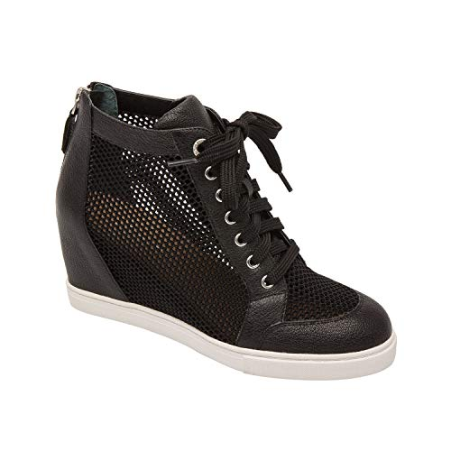 (Linea Paolo FINIAN | Sporty Lace Up Perforated Leather Mesh Athleisure Sneaker WedgeBootie Black Knit/Leather)
