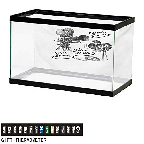 Aquarium Background,Movie Theater,Cinematography Themed Artwork with Old Camera and Equipment Silver Screen,Black White Fish Tank Backdrop 60