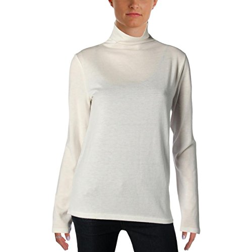 mens Textured Button Back Turtleneck Top Ivory L ()