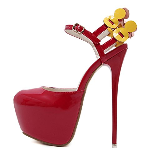 YC High Women'S Hate 17cm Shallow High L Female Red Hollow Sandals Nightclub Heels Mouth Days qwp0gS