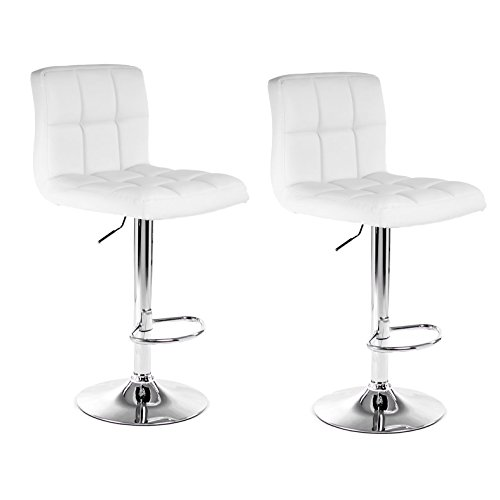 Ediors Furniture Swivel Black Bonded Leather Adjustable Hydraulic Bar Stool, Set of 2 (White) Review