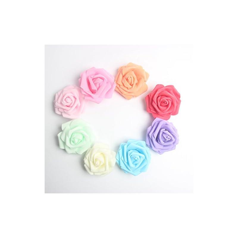 silk flower arrangements monkeyjack 100 pieces 8 cm colorful foam roses head bulk for wedding bridesmaid bridal bouquets centerpieces, party decoration, home display, office decor