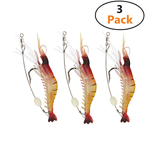 TianJi 3 Pcs Fishing Lures Life-like 3D Shrimp Worm Bait Prawn Glow in The Night Freshwater/Saltwater Squid Bream Trout Bass Salmon Flathead Whiting Snapper