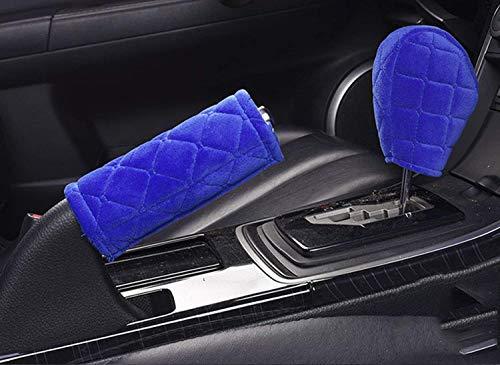 (U&M 2pcs Handbrake Cover & Shift Gear Cover,Soft Velvet Feel Cotton Blend 2 pcs in 1 Car Deco)