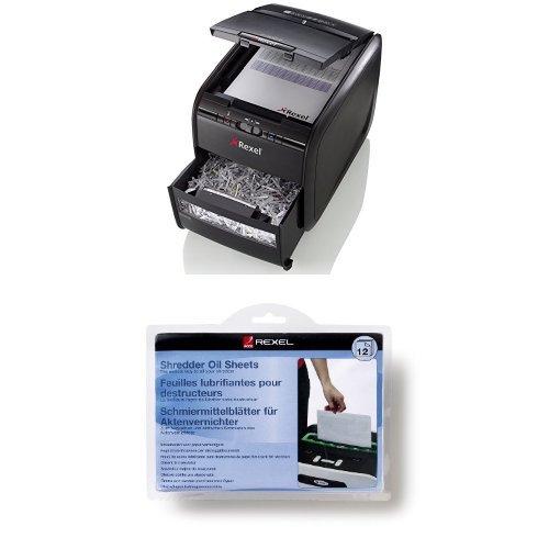 Rexel Auto+ 60X Aktenvernichter Partikelschnitt+ Schmiermittelblätter - Set