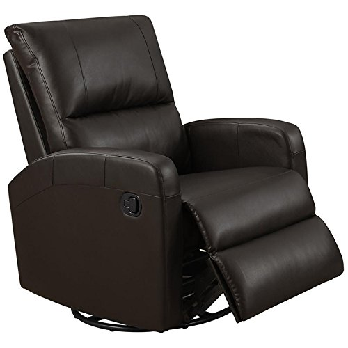 Leather Recliner Swivel Full Glider (Monarch I 8084Br Swivel Glider Recliner, Dark Brown)