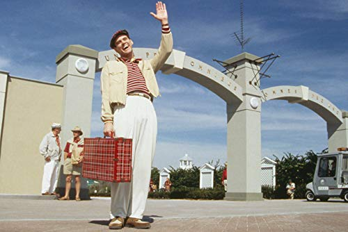 Jim Carrey in The Truman Show Holding Suitcase on Film Studio lot 24x18 Poster