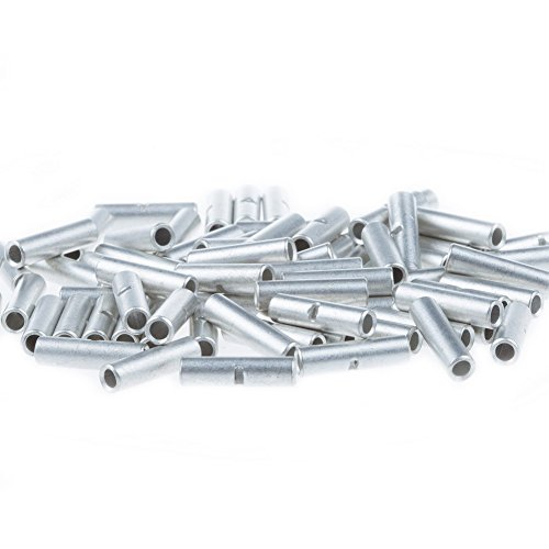 AIRIC Non Insulated Butt Connectors 100pcs 16-14 Gauge Electrical Wire Seamless Uninsulated Connectors Crimp Ferrule Terminals ...