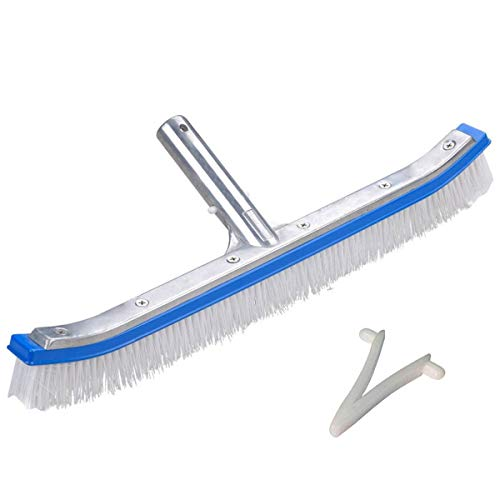 Professional 18 Vinyl Pool Brush with Strong Nylon Plastic Bristles, Heavy Duty Aluminium Handle Cleaning Tools for Sweeping Swimming Pool Wall & Tiles Algae