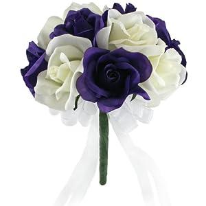 Purple & Ivory Garden Rose Stem Fake Flower Bouquet - Silk Wedding Flowers -Artificial Wedding Bouquets (Small) 26