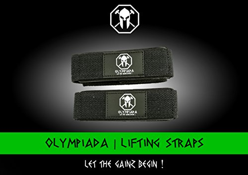 Olympiada Weight Lifting Straps - For Strength Training, Bodybuilding, Crossfit, and Olympic Lifting - Cotton Padded for Extra Comfort - For Men and Woman - LIFETIME GUARANTEE
