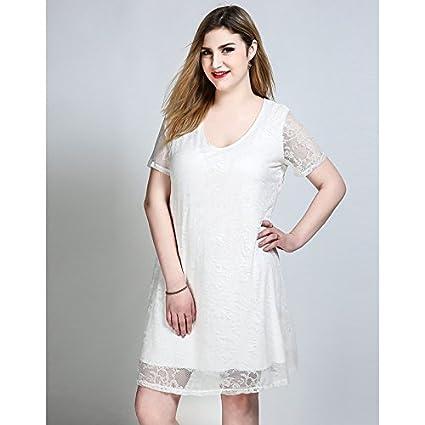 f6e1c2ed5 JIALELE La Mujer Plus Size una línea de Encaje Vestido de Giro - Sólido