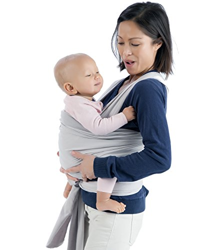 Mo+m Baby Wrap (Stone Grey) – Ultra Soft Infant Sling Child Carrier Keeps Your Baby Comfortable & Safe – 4 Different Carries – Cotton/Spandex Stretchy Wrap