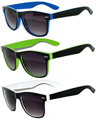 3 Pack Two Tone Vintage Smoke Lens Sunglasses White,Blue,Green