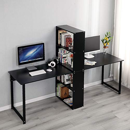 SogesHome 2-Person Computer Desk 78.7 inches Extra Large Desk Double Workstation with Book Shelf Writing Desk Home Office Desk with Storage Rack, NSDUS-XTD-SR01-BK