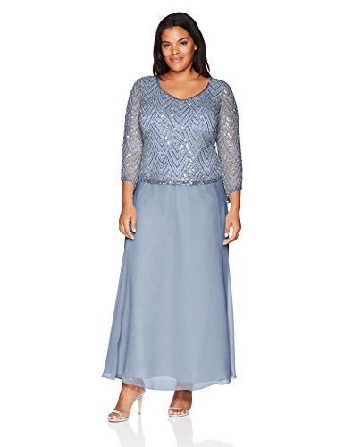 J Kara Women's Plus Size Scoop Neck 3/4 Sleeve Beaded Dress, Dusty Blue/Silver, 22W