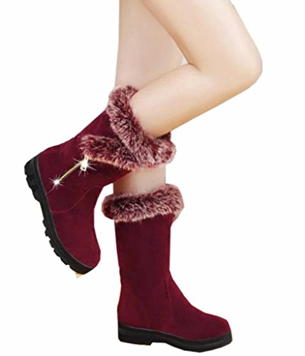 DADAWEN Women's Suede Winter Fur Lining Cozy Warm Mid Calf Snow Boots Red US Size 9