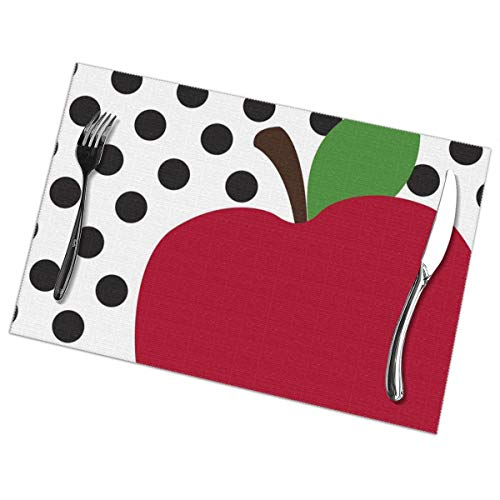 YUERF Apple and Red Dots Placemats - Sets of 6 Non-Slip Washable Coffee Mats,Heat Resistant Kitchen Tablemats