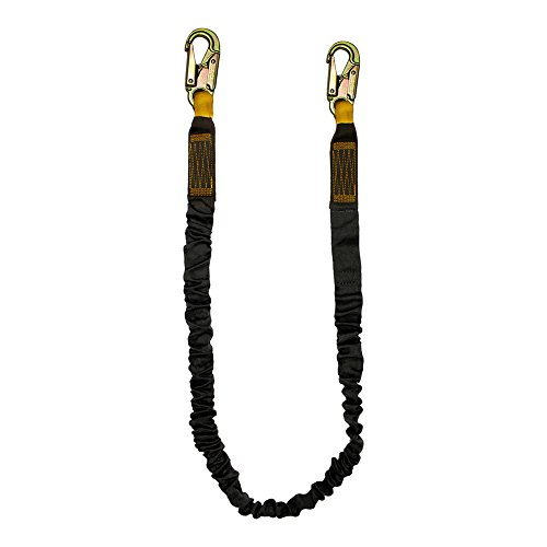 Fusion Climb 6ft 72''x2'' Internal Shock Absorbing Fall Protection Safety Lanyard with Steel Snap Hooks 23kN Black by Fusion Climb