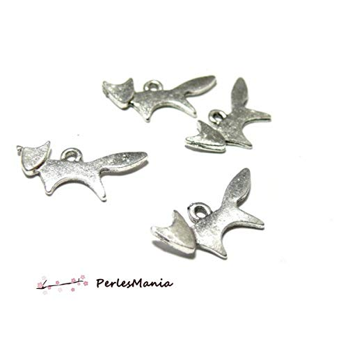 perlesmania.com 10 Breloques Petit Renard Metal Argent Antique S113688