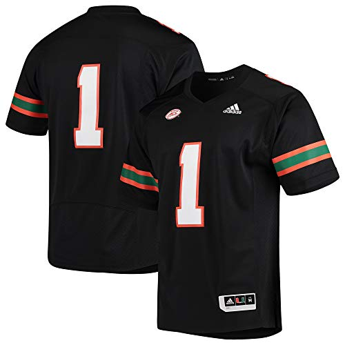 (adidas Miami Hurricanes Premier Football Jersey with Acc Patch (Large,)