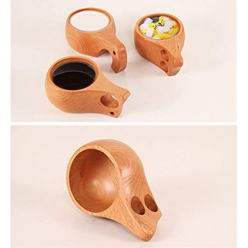 Gotian New Wooden Cup Log Color Handmade Natural Wood Coffee Tea Beer Juice Milk Mug, Natural Beech Wood, Healthy and Natural, Small Teacup (C)