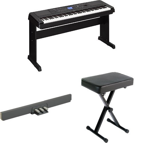 Yamaha DGX-660 Premium Digital Piano, Black, with Matching Stand, 3-Pedal Unit, and Bench by Yamaha