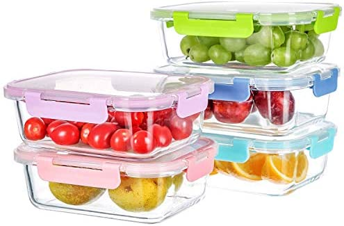 Meal Prepping Glass Container for Food Storage with Lifetime Lids 5-Pack,34Oz