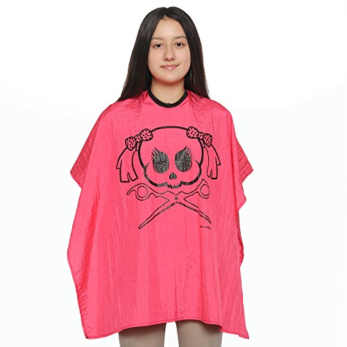 Kid's Skull Quality Salon Cape - Large Crinkle Nylon Material Light Weight Extra Durable Protection Child Barber Cape (Pink) by Mane Caper